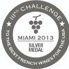 Médaille d'argent au concours de Allwines Miami des meilleurs vin et spiritueux Français aux USA  en 2013