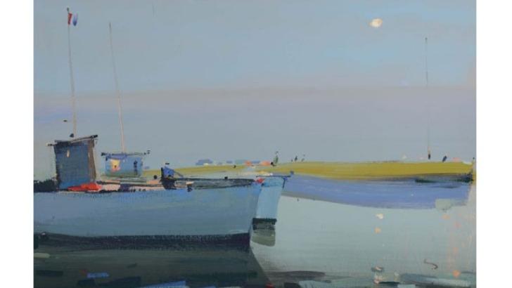 galerie-de-est-bateaux-de-pecheurs-antibes-toile-peinte-a-acrylique-par-alexei-lantsev-peintre-russe