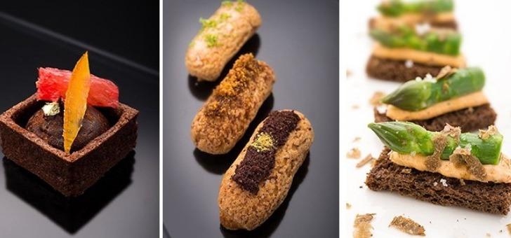 Tartelette crémeux chocolat et agrumes - Trilogie de Carolines - Pointe d'asperge, creme de tomate et truffe