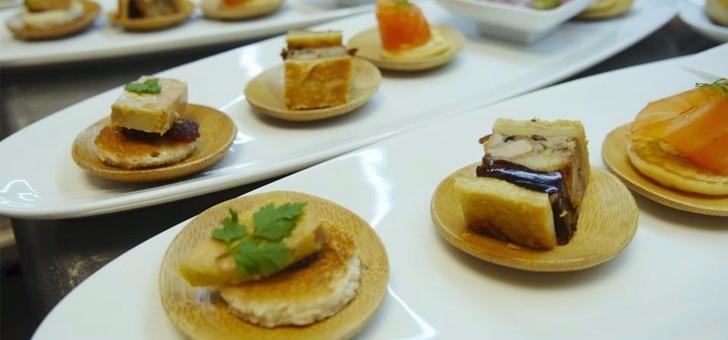 veloute-chataignes-cepes-parfume-a-truffe-california-rolls-crabe-royal-oeuf-parfait-lentilles-vertes-du-puy-moutardees-boeuf-seche