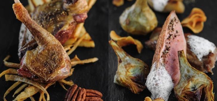 a-droite-poitrine-de-pigeon-rotie-cuisse-confite-chips-de-panais-et-jus-court-aux-noix-de-pecan-a-gauche-gigeot-d-agneau-roti-artichauds-braises-et-jus-court-aux-olives-noires