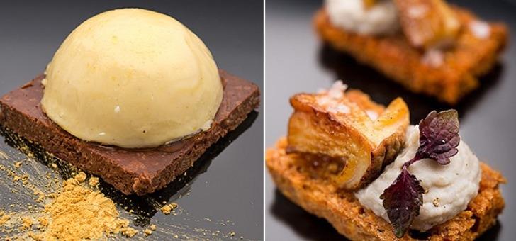 Craquant au Chocolat et crême brûlée - Cake à la Châtaigne, artichaut et cèpe