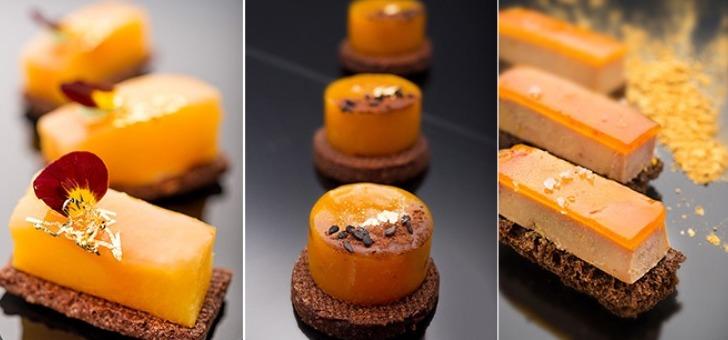 Tatin à la Pêche - Tatin de mangue - Bruschetta de Foie gras mariné et Chutney