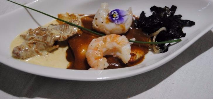 lotte-langoustine-avec-champignons-restaurant-source-de-peyssou-a-saint-avit-senieur-cuisine-terroir-gourmande-traditionnelle